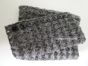 crochet charcoal cowl with buttons folded