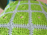lacy with dots crochet cushion cover close up