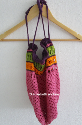 work in progress crochet bag in 4 colors