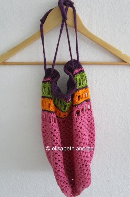 work in progress crochet bag in 4 colors