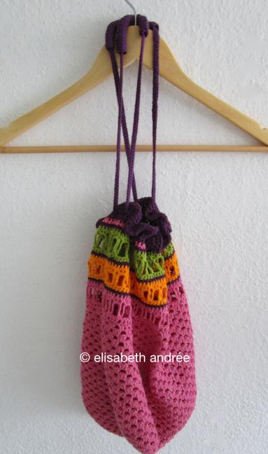 work in progress crochet cotton bag by elisabeth andrée