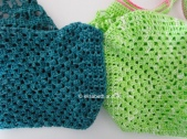 crochet teal and green shopping bag bottoms