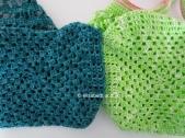crochet teal and green shopping bag bottoms