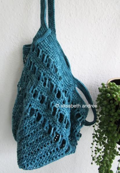 crochet teal shopping bag by elisabeth andrée