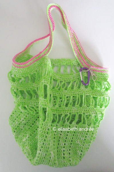 small green with pink crochet bag by elisabeth andrée