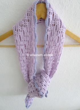 crochet lacy scarf folded lengthwise