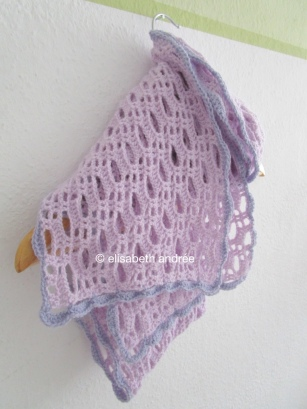 crochet lilac scarf on hanger
