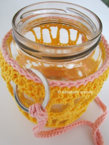 keyrings and crochet rope for glass jar cover
