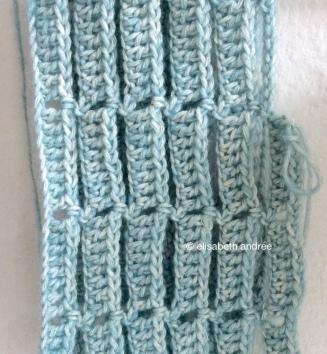 blue crochet work in progress by elisabeth andrée